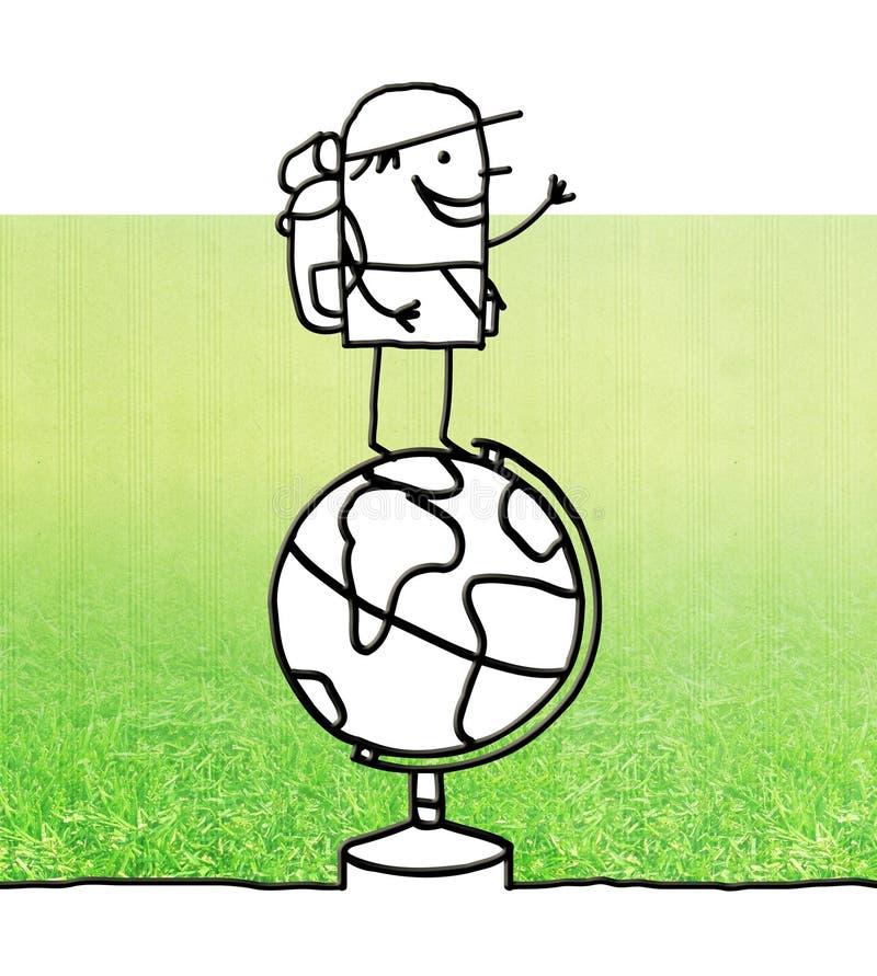 Voyageur de bande dessinée se tenant sur un globe illustration stock