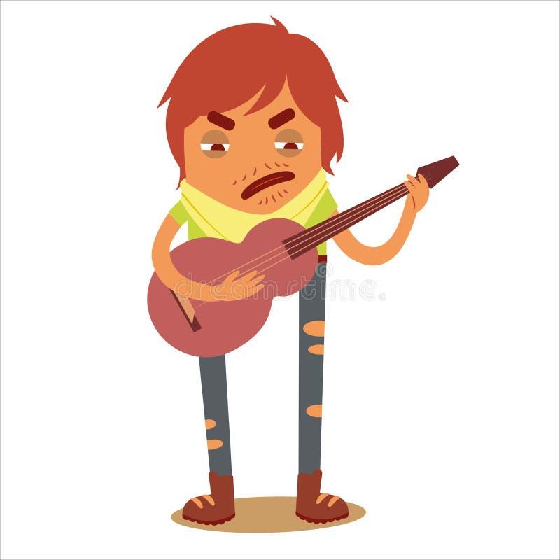 Voyageur 3 de caractère avec une guitare photos libres de droits
