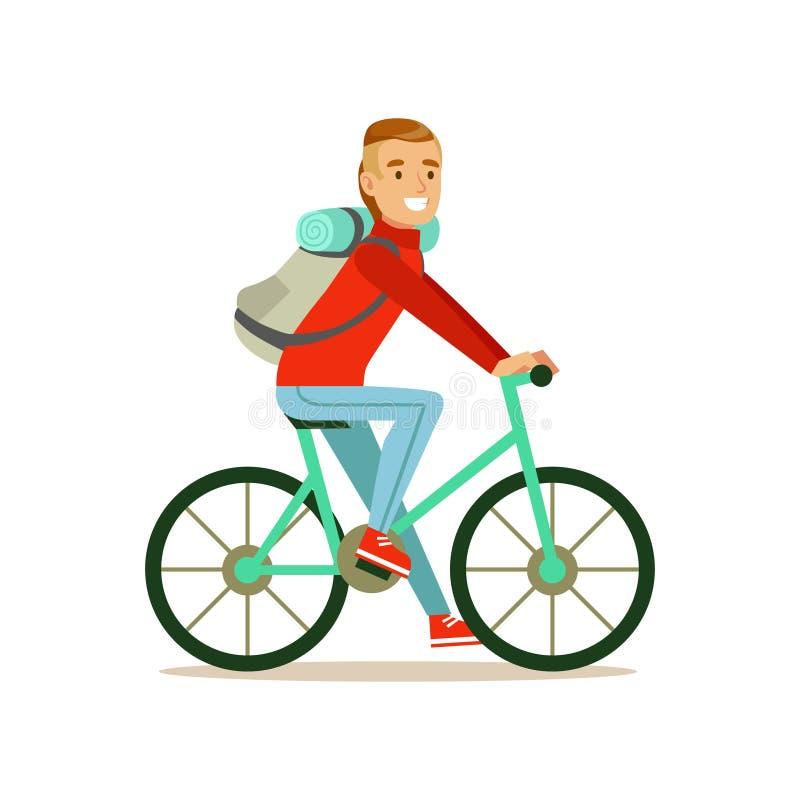 Voyageur de cycliste avec le sac dos montant un v lo - Voyageur dessin ...