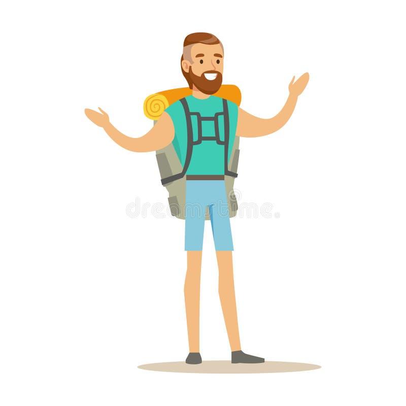 Voyageur de jeune homme se tenant avec le sac dos - Voyageur dessin ...