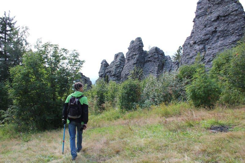 Voyageur de touristes dans la forêt sur la route image stock