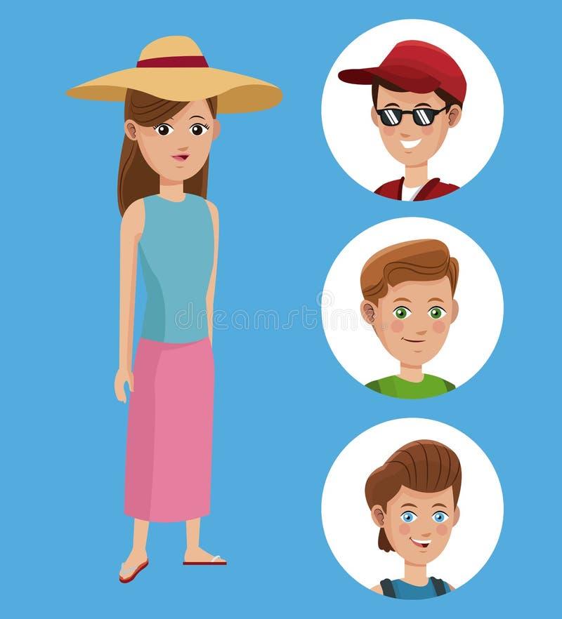 Voyageur de touristes de chemise de chapeau de femme et de garçon de groupe illustration de vecteur