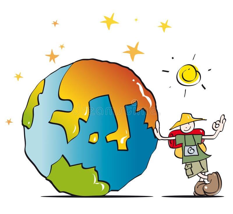 Voyageur drôle visitant le pays illustration de vecteur