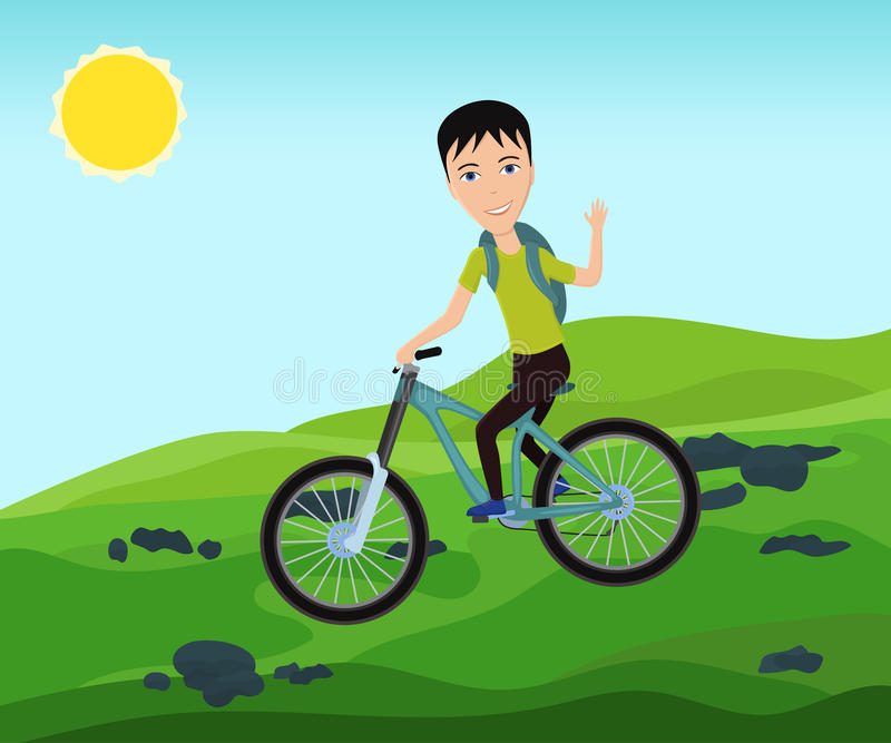 Voyageur drôle de cycliste avec le sac à dos montant un vélo sur la montagne illustration de vecteur