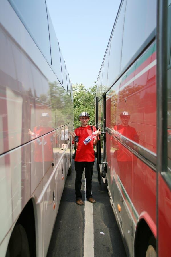 Voyageur heureux de bus photos libres de droits
