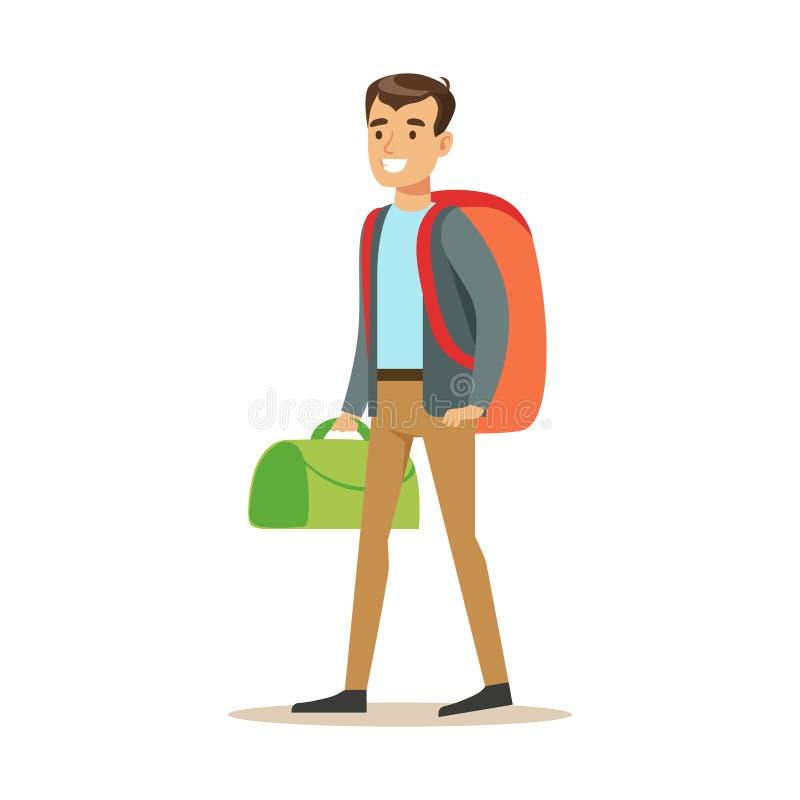 Voyageur heureux de jeune homme se tenant avec le sac - Voyageur dessin ...