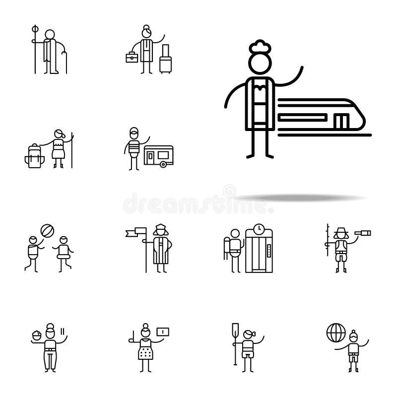 Voyageur, icône de train Ensemble universel d'icônes de voyage pour le Web et le mobile illustration libre de droits