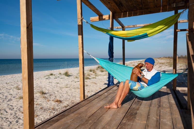 Voyageur joyeux avec le chien drôle détendant dans un hamac image libre de droits