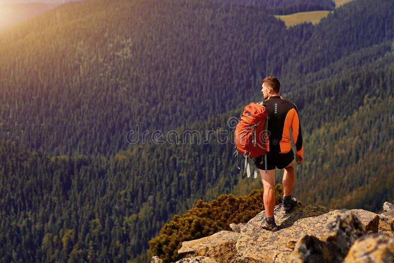 Voyageur masculin de dos dans les montagnes image libre de droits