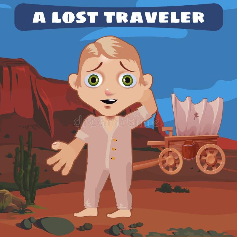 Voyageur perdu sur la prairie avec un chariot cassé illustration stock