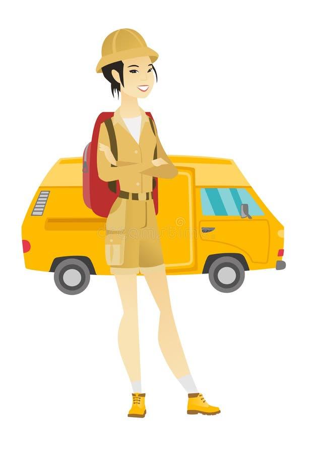 Voyageur se tenant sur le fond du minibus illustration libre de droits