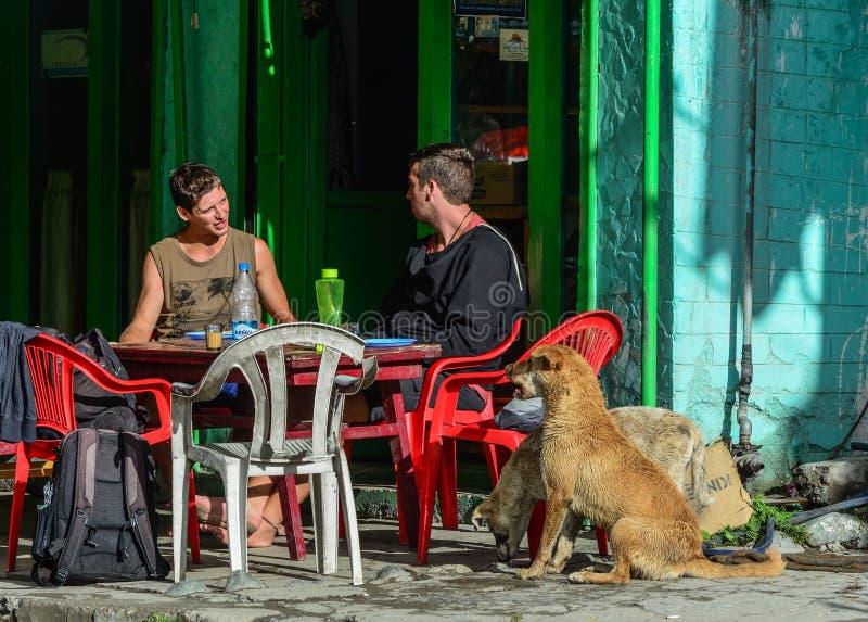 Voyageurs caucasiens reposant et buvant du caf? images libres de droits