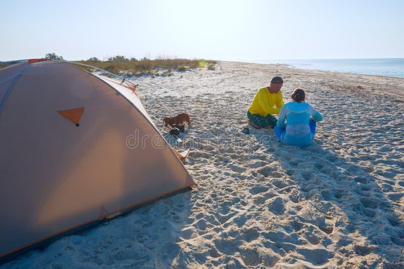 Voyageurs joyeux, avec un petit chien drôle photo libre de droits