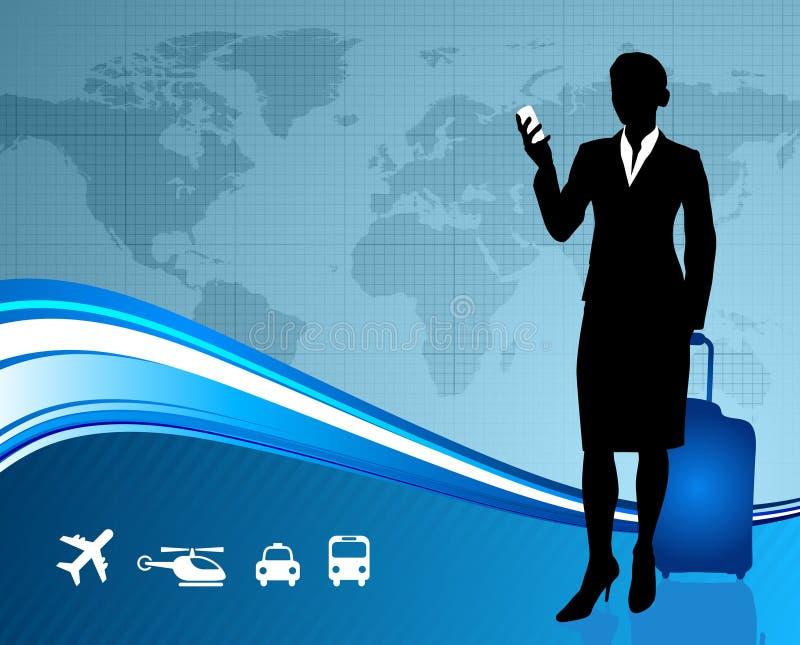 Voyageuse de femme d'affaires avec la carte du monde illustration libre de droits