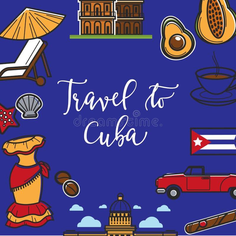 Voyagez à l'affiche de promo du Cuba avec des symboles nationaux illustration de vecteur