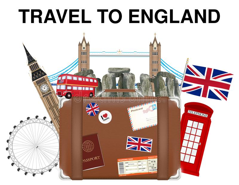 Voyagez au sac de valise de l'Angleterre avec le point de repère de l'Angleterre illustration libre de droits