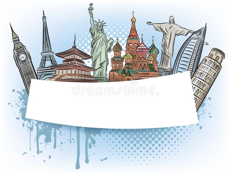 Voyagez aux merveilles de la bannière du monde illustration de vecteur