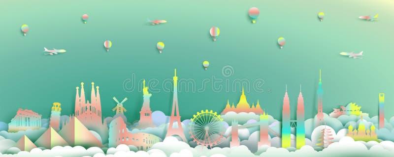 Voyagez avec le dessus de points de repère du pays de renommée mondiale de monuments illustration stock