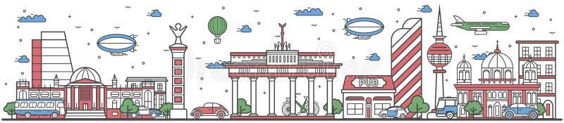 Voyagez dans la ligne de ville de Berlin bannière plate de conception illustration libre de droits
