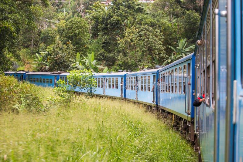 Voyagez par chemin de fer par le paysage scénique de montagne dans Nuwarelia, Sri Lanka image libre de droits