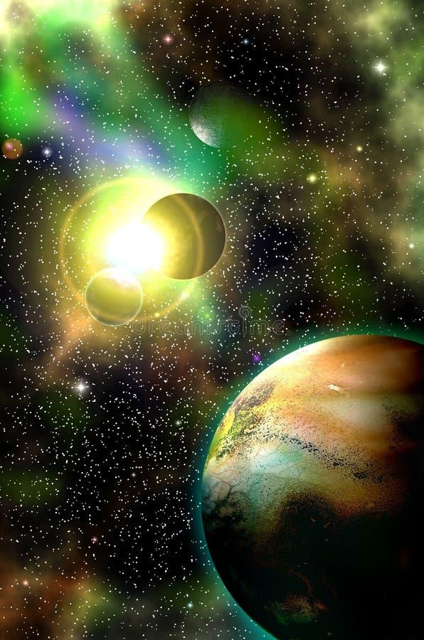 Voyagez par les mondes fantastiques dans l'espace cosmique lointain illustration de vecteur