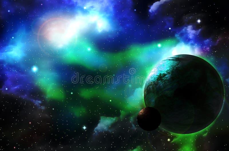 Voyagez par les mondes fantastiques dans l'espace cosmique lointain illustration stock