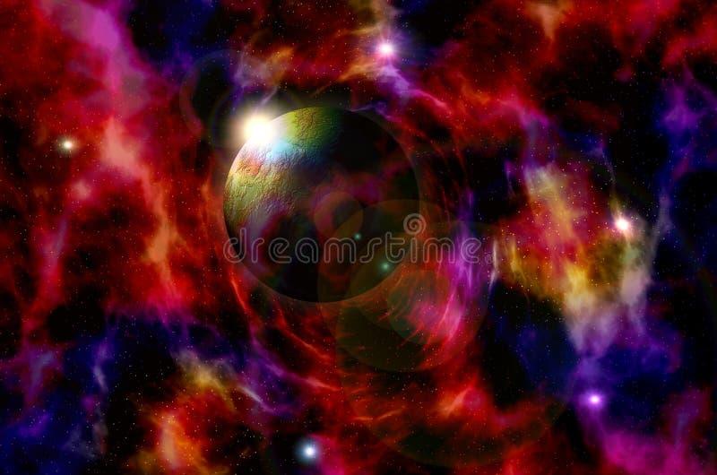Voyagez par les mondes fantastiques dans l'espace cosmique lointain illustration libre de droits