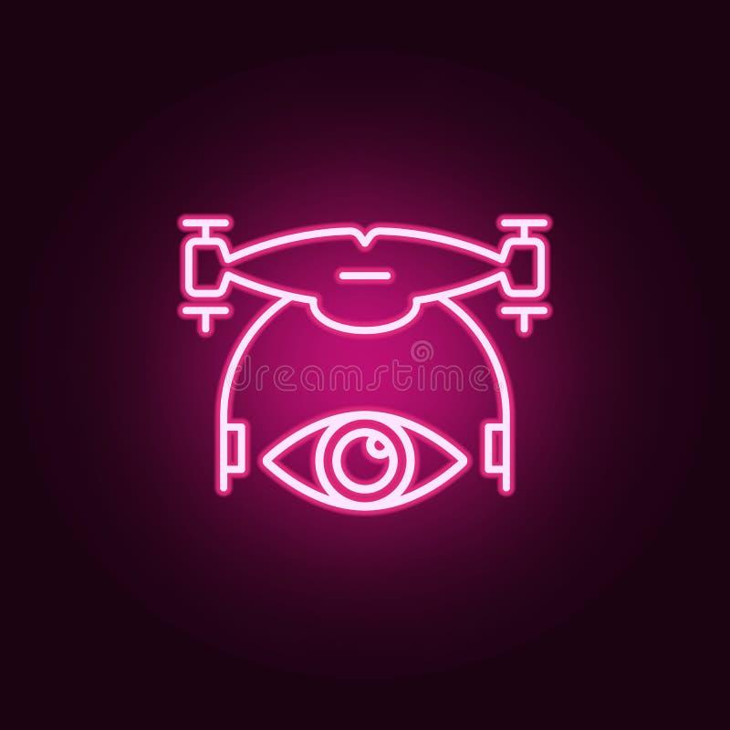 voyez l'icône de bourdon Éléments des bourdons dans les icônes au néon de style E illustration libre de droits