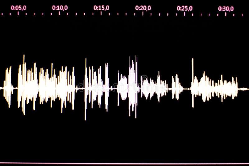 Voz audio del estudio que registra la onda acústica fotos de archivo