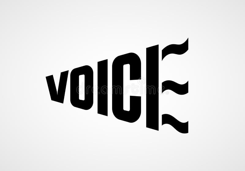 Voz de la palabra bajo la forma de megáfono Letras del vector ilustración del vector