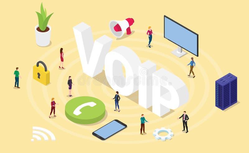 Voz de Voip sobre concepto del Internet Protocol con palabras grandes y gente del equipo e icono con 3d el estilo isometry isom?t libre illustration
