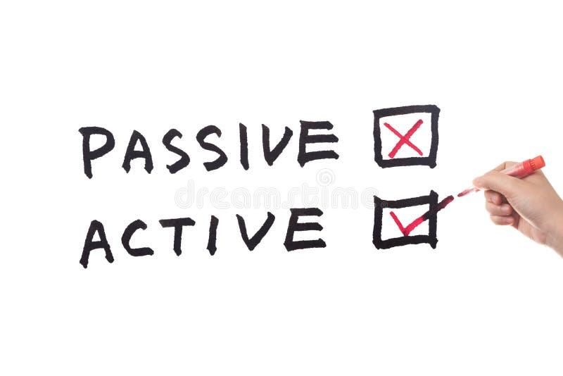 Voz pasiva o Active fotografía de archivo
