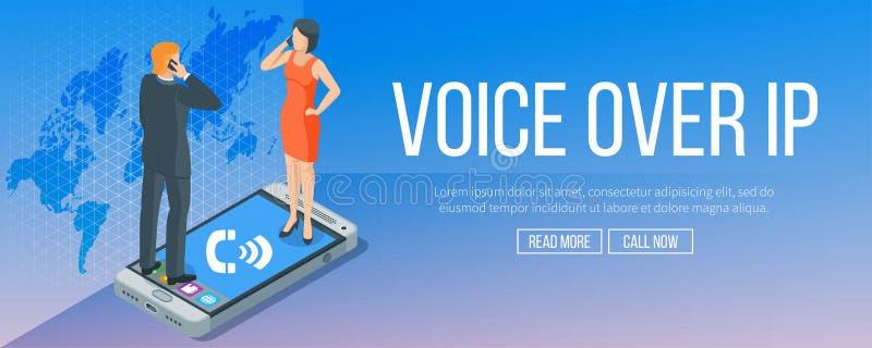 Voz sobre bandera del Internet Protocol ilustración del vector