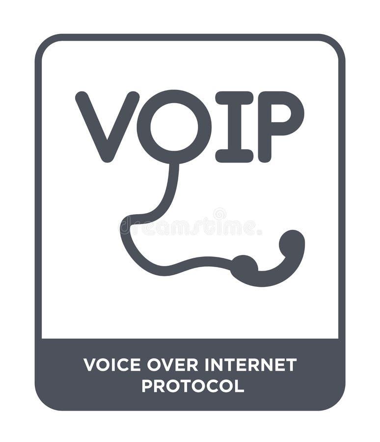 voz sobre icono del Internet Protocol en estilo de moda del diseño voz sobre el icono del Internet Protocol aislado en el fondo b ilustración del vector