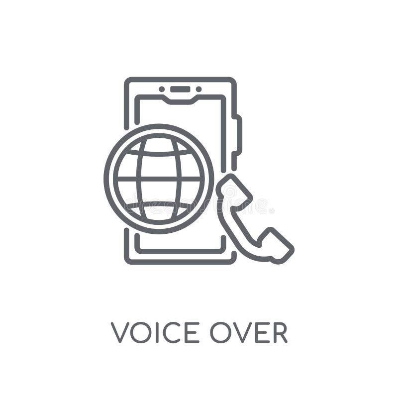 voz sobre icono linear del Internet Protocol Voz moderna o del esquema libre illustration