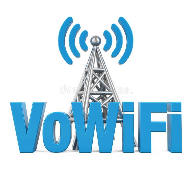 Voz sobre la muestra de WiFi con la antena del metal aislada ilustración del vector