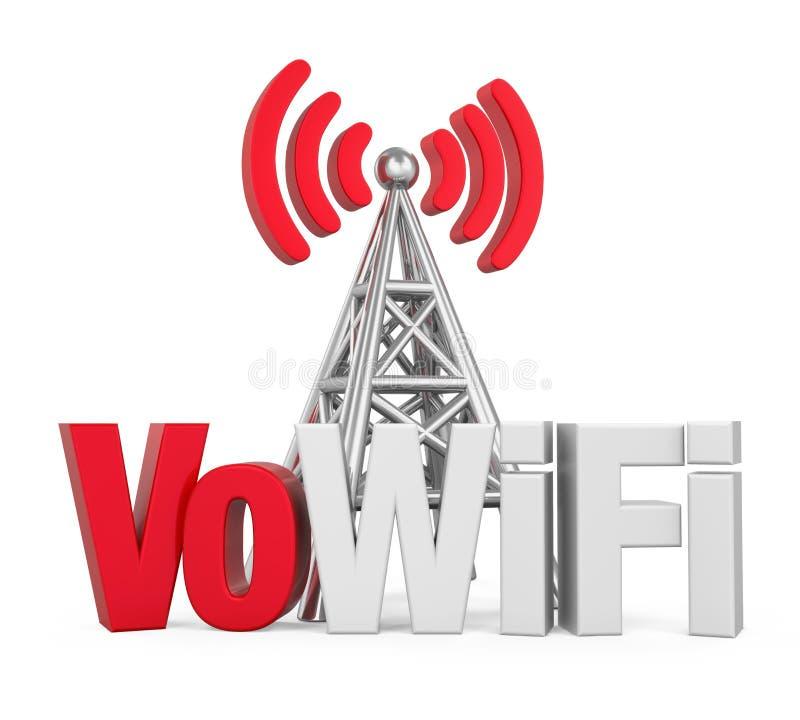 Voz sobre la muestra de WiFi con la antena del metal aislada libre illustration