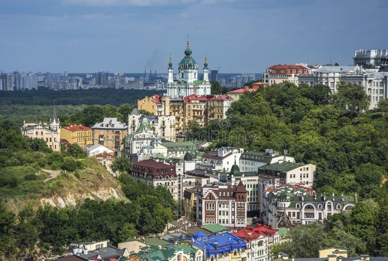 Vozdvizhenka elita okręg w Kijów, Ukraina Odgórny widok na dachach budynki obrazy stock