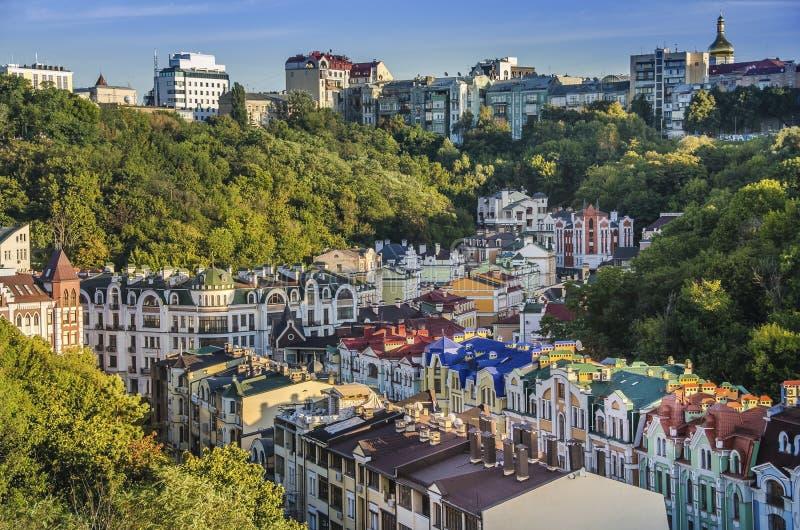 Vozdvizhenka elita okręg w Kijów, Ukraina Odgórny widok na dachach budynki obraz royalty free