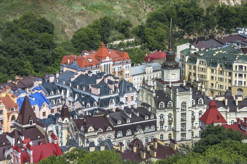 Vozdvizhenka elita okręg w Kijów, Ukraina Odgórny widok na dachach budynki zdjęcia stock