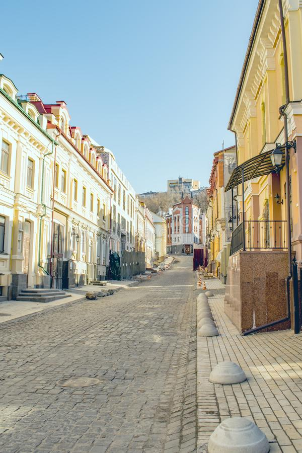 Vozdvyzhenska street in historical part of city. Vozdvyzhenka - the heart of historical Kyiv. The houses are built in the architectural styles popular in the royalty free stock images