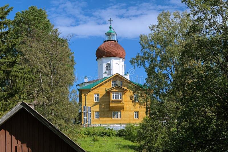 Voznesenskaya kyrktaga-fyr, Solovki, Ryssland arkivbilder