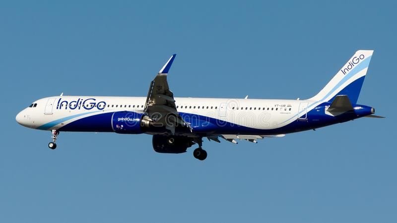 VP-IUB IndiGo Airlines, Airbus A321-200NEO. VP-IUE is on final approach runway 35R at Istanbul Airport LTFM, July 21 , 2019 royalty free stock photo