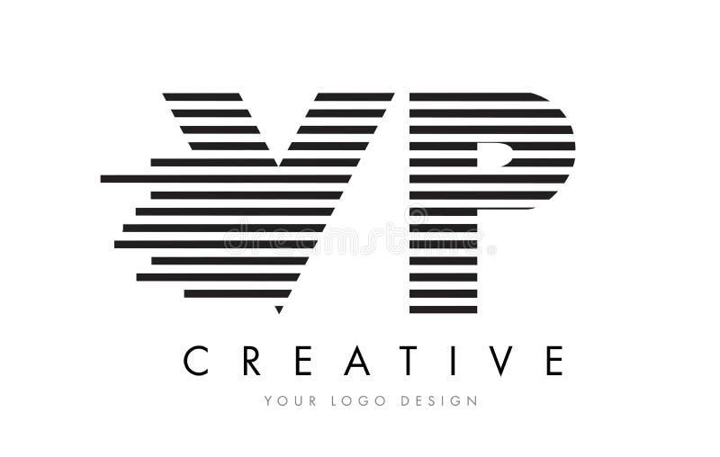VP V P Zebra Letter Logo Design with Black and White Stripes royalty free illustration
