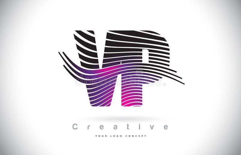 VP V P Zebra Texture Letter Logo Design With Creative Lines y stock de ilustración