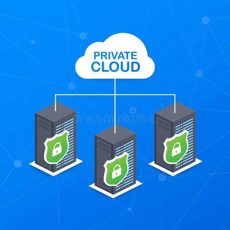 Vpc Le nuage privé dans une icône de société des données sûres stockent la gestion de main Illustration de vecteur illustration libre de droits