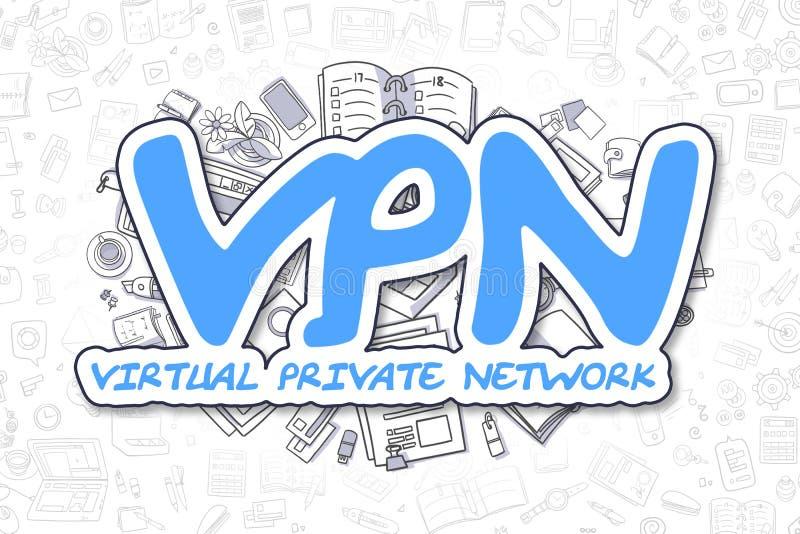 Vpn -乱画蓝色题字 到达天空的企业概念金黄回归键所有权 皇族释放例证