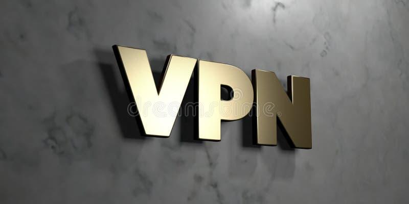 Vpn -在光滑的大理石墙壁登上的金标志- 3D回报了皇族自由储蓄例证 向量例证