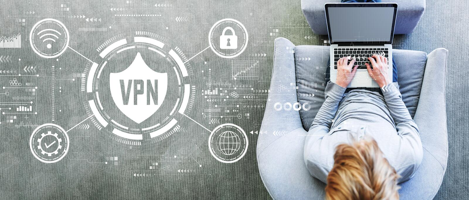 VPN concept with man using a laptop royalty free stock image