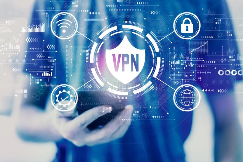 VPN concept with man using a smartphone stock photography